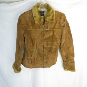 Leather Works Women's S Coat Patch Work Suede